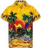 V.H.O. Funky Camisa Hawaiana, Parrot, Amarillo, XXL
