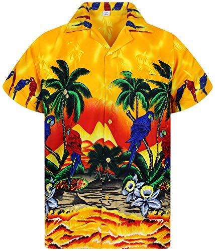 V.H.O. Funky Hawaiian Shirt, Parrot, Giallo, XS