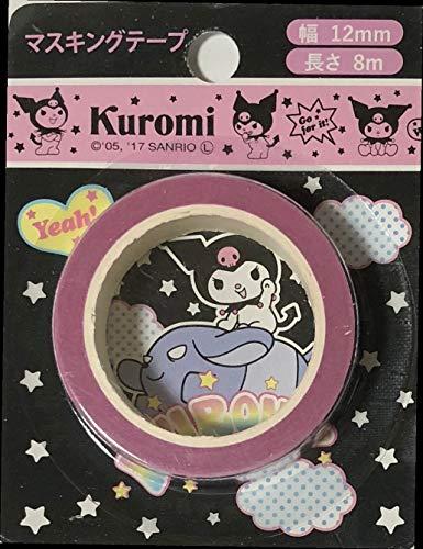 サンリオ 黒美マスキングテープ 長さ8m 幅0.47インチ ステッカー デコレーション アート 工芸 裁縫 文房具 日本