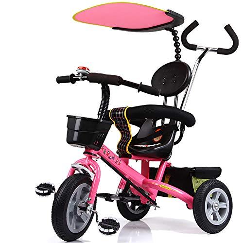 Bébé GUO@ Poussette 1-3 Ans Porte Titanium Roue Vide Chariot De Tricycle LéGer pour Enfants avec Auvent