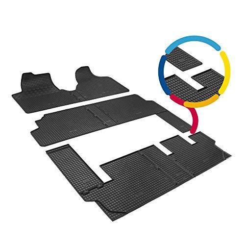saferide | Maß Fußmatten Auto Gummi Schwarz Set 9-Sitze Matten Antirutsch Vorne Hinten Automatten Gummimatte Zubehör Autoteppich Kunststoff Rigum