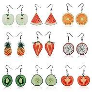 VEINTI+1 Trendy Statement Creative Funny Lifelike Fruits Acrylic Earrings for Women/Girl's