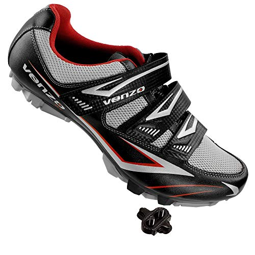 Venzo Cycling Bicycle Cycle Mountain Bike Shoes Men - Compatible with Shimano SPD Cleats - Good for Spin Cycle, Off Road and MTB with Multiple Release Cleats -Size 43