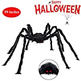 Halloween Giant Spider Decorations Fake Large Spider with Straps Hairy Spider Realistic Scary Prank Props for Indoor Outdoor Yard Party Halloween Decor Black (59 Inch)