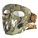 Rinling Airsoft Mask,Full Face Masks Skull Skeleton with Goggles Impact Resistant Army Fans Supplies for Halloween Paintball Game Movie Props Party and Other Outdoor Activities (Camo-Clear Lens)