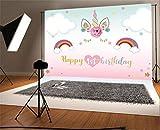 YongFoto 1,5x1m Vinilo Fondo de Fotografia Unicornio 1 Cumpleaños Hermosas Decoraciones Telón de Fondo Photo Booth Infantil Party Banner Niños Photo Studio Props