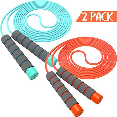 Svkiyang Springseil Kinder 6 Jahre,seilspringen Sport 2 Stück 240CM,3-12 Jahre alt für Jungen und Mädchen ideal für Fitness Training/Spiel/Fett Brennen Übung (Rosa-grün)