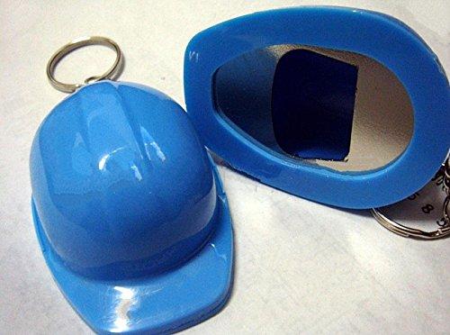 Flaschenöffner Kapselheber Schlüsselanhänger in Form Sicherheitshelm Helm in blau mit Schlüsselring,direkt aus Fabrik, Werbemittel (5 St.)