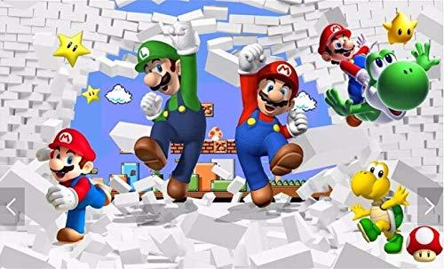 Benutzerdefinierte Tapete Für Kinder. Super Mario Animation, Moderne 3d-wandbilder Für Wohnzimmer Sofa Kinderzimmer Wand Vinyl Tapete