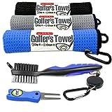 Fireball Golf 5-Piece Deluxe Golf Towel Gift Accessories Set in Blue