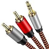 3.5mmから2rcaケーブル 1m、LiuTian デュアルシールドゴールドメッキ] 3.5 mmオス-2RCAオスステレオオーディオアダプター同軸ケーブルナイロン編組AUX RCA Yコード(スマートフォン、MP3、タブレット、スピーカー、HDTV用)。