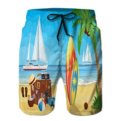 Pantalones Cortos de Verano para Hombre Pantalones Cortos Casuales Vintage Maleta de Viaje Antigua Playa paradisíaca Yates Marinos Tabla de Surf de Color Cuero Retro Bolsa Pegatinas Vacaciones Cool