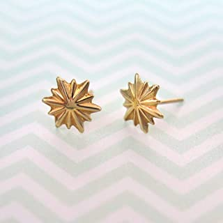 2b03b9a46 14K Gold Star Stud Earrings, 14K Solid Yellow Gold Stars Studs, Tiny  Handmade Dainty