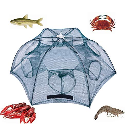 PuDong Crawfish Trap,Crab Fish Trap,Foldable Fishing Bait Trap Cast Net Cage with 18 Feets Nylon Rope for Catching Small Bait Fish Eels Crab Lobster Minnows Shrimp