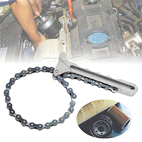 YSHtanj llave de mantenimiento de filtro de aceite portátil de aleación de aluminio con mango de cadena y llave de filtro de aceite