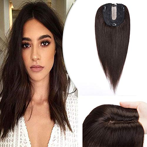 Hairro Silk Base Human Hair Topper for Women Clip in Hair Extensions 12 Inch Dark Brown Crown Top Toupee Hairpieces with 4 Clips Larger Base for Thinning Hair #2