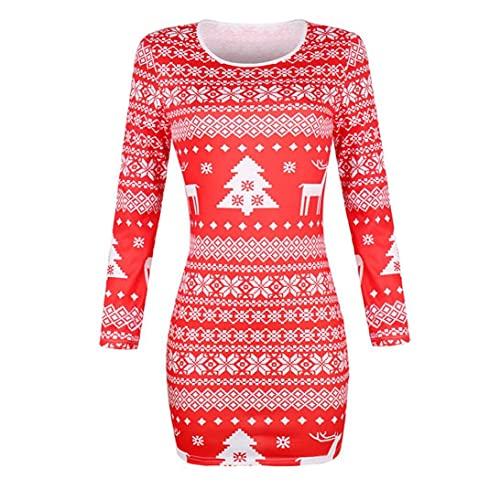 Kerstmis Dames rok ronde kraag met lange mouwen lange jurk met Flower Printing jurk met lange mouwen Elegant Christmas Party Dress-L (rood), Kerstmis Dames rok