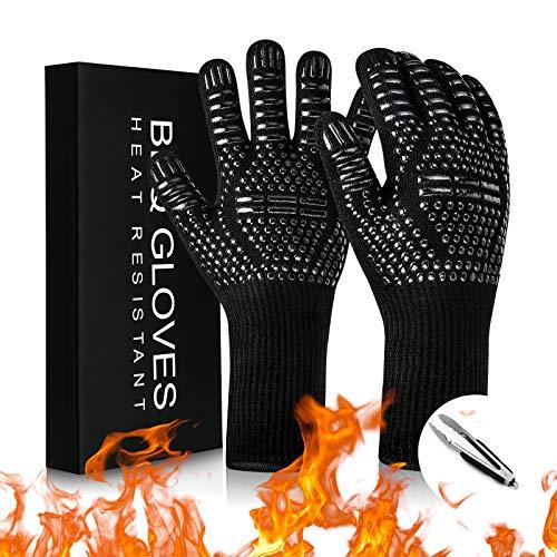 Topfhandschuhe, Grillhandschuhe Hitzebeständig 800 Grad Hitzebeständige Tutschfeste Kochhandschuhe Backhandschuhe Topflappen Handschuh für Grillen BBQ Kochen Backen (1 Paar, Schwarz Rot)