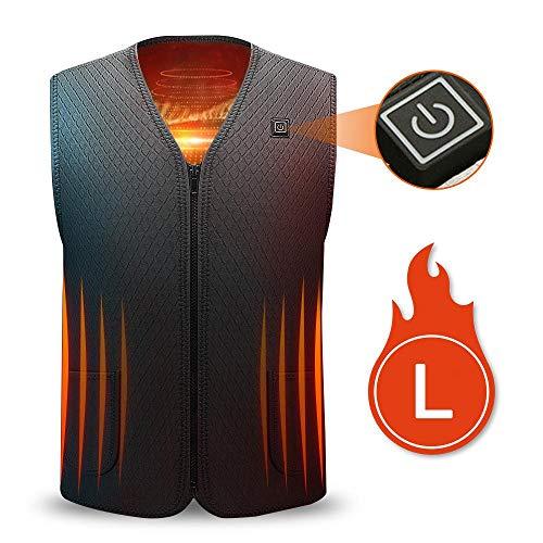 LayOPO elektrisch verwarmbaar vest, 5 V lading, elektrisch thermovest, 5 verwarmingskussens, 3 instelbare temperaturen, elektrisch vest voor skiën, jagen en camping