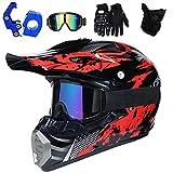 PKFG Casque Moto Cross Rouge Noir Set, HG-02 Adulte Enfant Full Face Moto Off-Road Helmet avec...