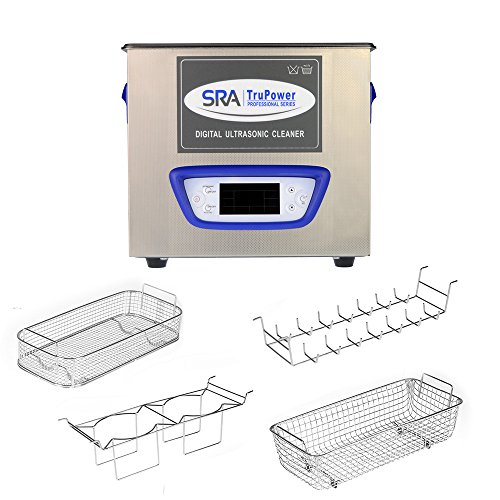 SRA TruPower UC-32D-PRO Professional Ultrasonic Cleaner, 3 liter Capacity with LCD Display, Sweep/Degas, Adjustable Power, Sleep Function, 2 Baskets, Wire Ring Rack and Wire Beaker Holder