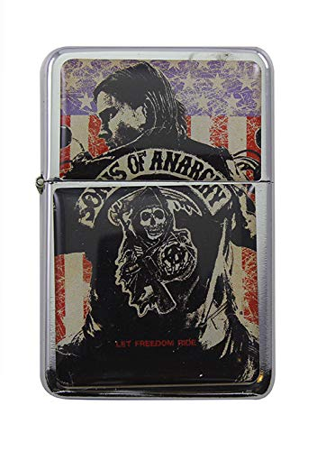 Feuerzeug Star Sons of Anarchy Jax Let Freedom Ride Windproof nachfüllbares Flip-Top