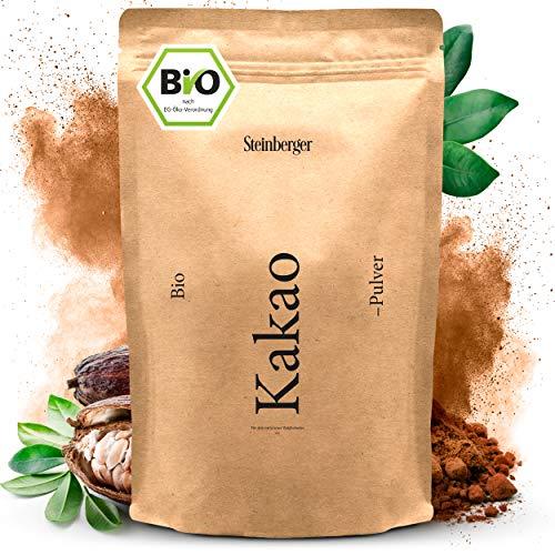 Premium BIO Kakaopulver von Steinberger | ungesüßter Rohkakao zum Verfeinern von Süßspeisen | 1000g im wiederverschließbaren Aromapack