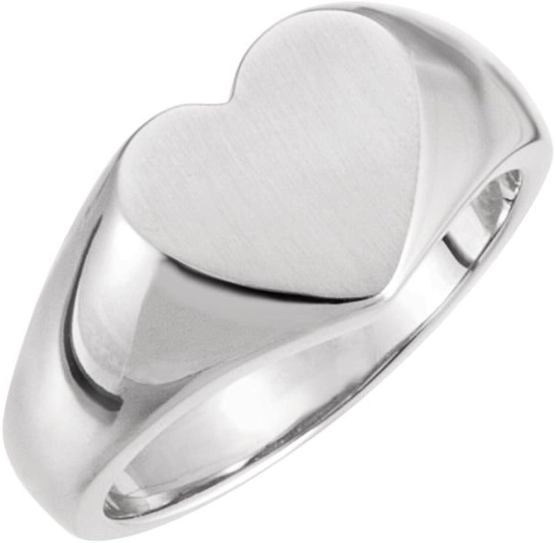 Beautiful Sterling silver 925 sterling Sterlingsilver Open Back Heart Signet Ring