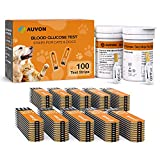 AUVON Glucose Monitor Blood Sugar Test Strips for Dogs Cats (100 Count) for use with AUVON High-Tech Veterinary Blood Glucose Monitoring Meter Kit (Model: PB111)