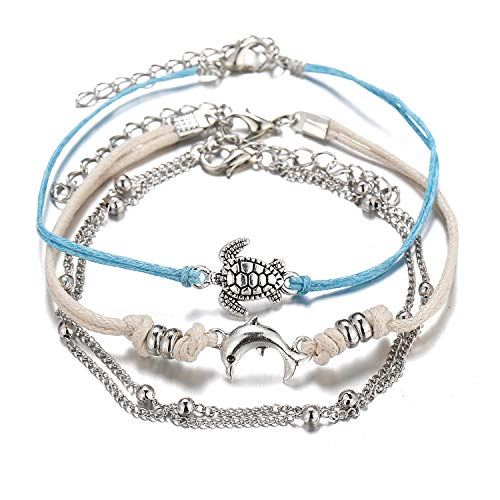 Unicra Boho Turtle Layered Anklet Silver Dolphin Foot Chain Beach Jewelry Ankle for Women and Girls (A-Turtle & Dolphin)