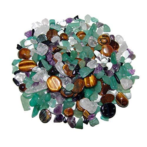 Bunte Trommelstein 500 g mini 4-10 mm Mischung Tigerauge, Bergkristall, Rosenquarz, Aventurin, Howlith, Amethyst, Turmalin schwarz