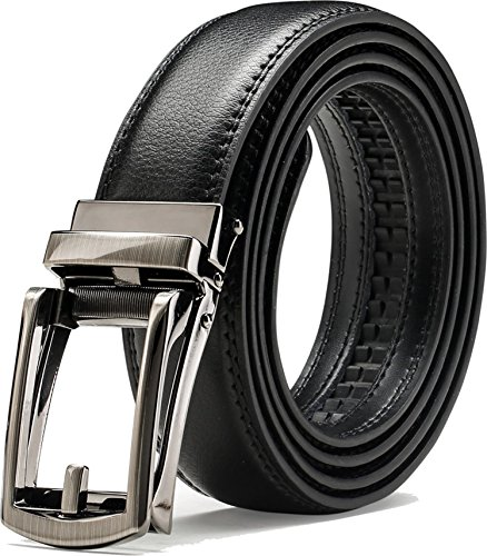 Men's Comfort Genuine Leather Belt with One Click Buckle, Fit for 27-46' (Comfort belt-13)
