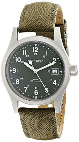 Hamilton Men's HML-H69419363 Khaki Field Green Strap Analog Hand wind Stainless Steel Watch