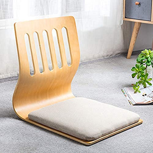 FLYTYSD 2Pcs Game Chairs, Living Room Chair Japanese Legless Floor Chair, Wooden Chair Tatami Meditation Bay Window Lounge Chair Lazy Couch for Reading TV,Light Gray