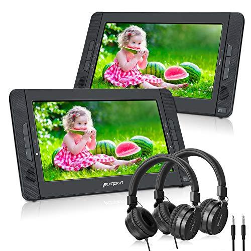PUMPKIN 10.1' DVD Portátil Coche 2 Pantallas para Niño con 2 Auriculares, Reproductor DVD para Reposacabezas soporta Tarjeta SD y USB Región Libre
