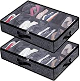 Under Bed Shoe Storage Organizer for Closet,Shoe Container Box Bedding Storage with Clear Cover(24 Pairs)Set of 2 Black with Printing