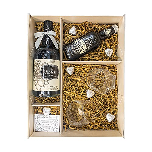 Photo of The Kraken Spiced Rum 70cl Rum Gift Set Hamper with Matching Sparkleware Platinum Rim Tumbler Glasses, Fentimans Ginger Beer, Belgian Chocolates & Gift Box – Cocktail Rum Gift For Him, Dad, Christmas