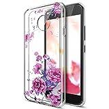Kompatibel mit Moto G5 Hülle,Moto G5 Schutzhülle,Bunte Gemalte Mandala Blumen Transparent TPU Silikon Handyhülle Tasche Silikon Hülle Durchsichtig Schutzhülle für Moto G5,Lavendel Pfingstrose Blumen