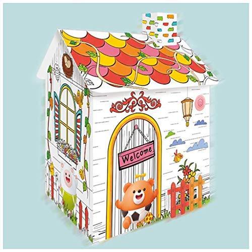 FSFF Playhouse Casas de cartón para Colorear Graffiti Plegable Resistente móvil Niños Juego Hecho a Mano Casas de muñecas para Fiestas de cumpleaños Regalos (Tamaño: 33.5x27x38cm)