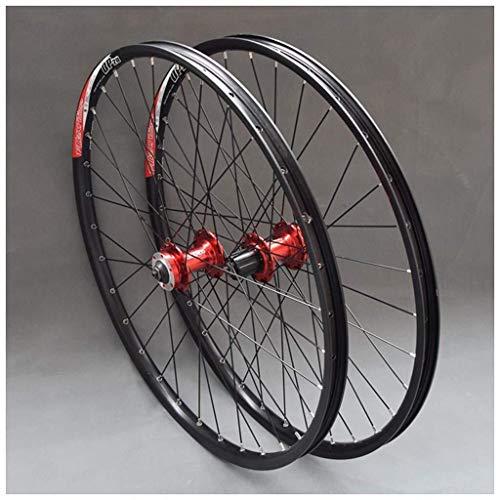 CHP Bicicletas de Ruedas de 26 Pulgadas MTB Ruedas de la Bici de Doble Pared de Llantas de Aluminio del Cassette del Eje rodamiento Sellado del Freno de Disco QR 32H 7-11 Velocidad (Color : Red Hub)
