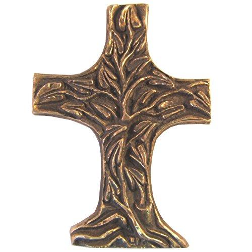 Wilde Bronzekreuz Bronze Kreuz Lebensbaum Kommunion 11,5 cm * 8 cm