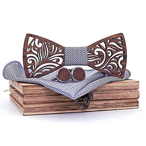 Wooden Bow Tie and Handkerchief Set