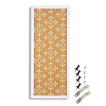 Cork Bulletin Board for Walls White Frame Floral Print for Bedroom Decor Memo Pinning  23.7x9.7x0.6
