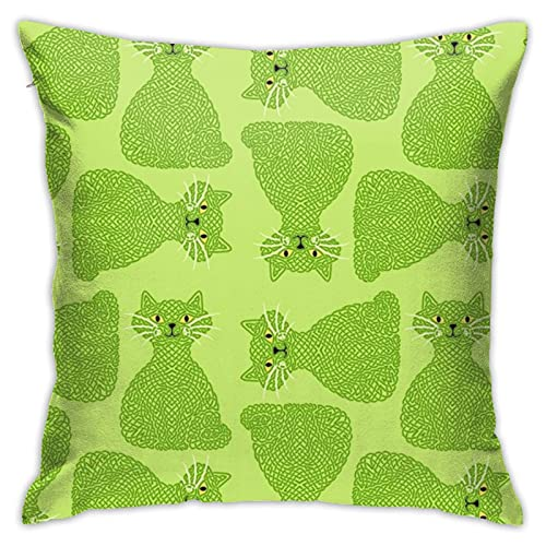 87569dwdsdwd Knotty Cat Green, Bighippopottermiss Throw Pillow Cover Pillow Cases For Home Decor Design Cushion Case For Sofa Bedroom Car 18 X 18 Inch 45 X 45 Cm