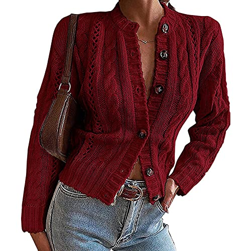 Cárdigan casual de manga larga con botones para mujer, para otoño e invierno, Vino Tinto, XL
