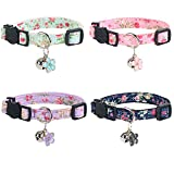 NISYYE Breakaway Cat Collar with Bell, 4 Pack Safety Adjustable Cat Collars Set