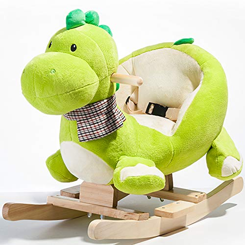 DDU Toddler Rocking Horse Toys Plush Rocking Ride On Toy Animal Rider Chair with Handle Grip Safe Belt Wood Base for Rocking Chair for 6-36 Months Kids Boys Girls Green-Dinosaur