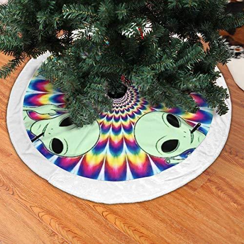 BIAN-61 Christmas Tree Skirt Trippy Spiral Alien Space Snowman Xmas Tree Skirt Holiday Festive Decorations Ornaments Party Supplies- White Villi Rim
