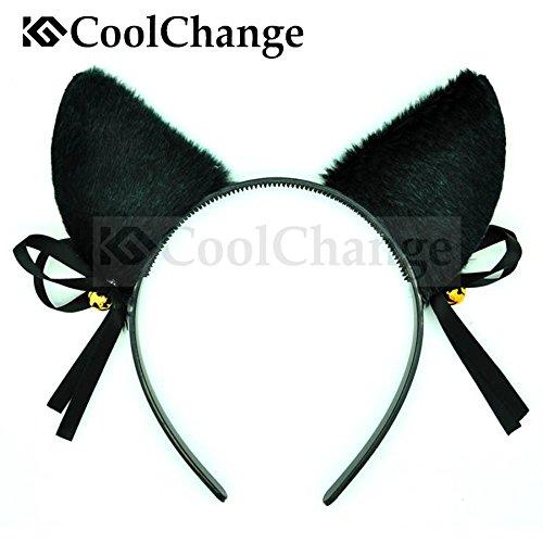 CoolChange Kit Adorable de Gatito Que Incluye una Banda para el Pelo con Orejas y una Cola de Gato, Negro