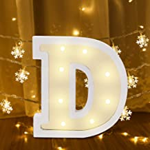 Flurries 26 Alphabet Letter Lights Sign LED Light Up White Plastic Marquee Letters Standing Hanging for Night Light Wedding Birthday Party Battery Powered Christmas Lamp Home Bar Festival Decoration